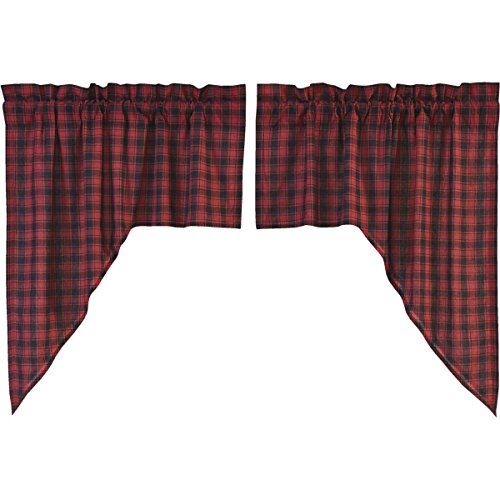 (VHC Brands Rustic & Lodge Kitchen Window Curtains - Cumberland Red Swag Pair, Chili Pepper)