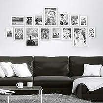 Bilderrahmen-Collage Photolini Basic Collection Modern Weiss aus MDF inklusive Zubehör / Foto-Collage / Bildergalerie / Bilderrahmen-Set
