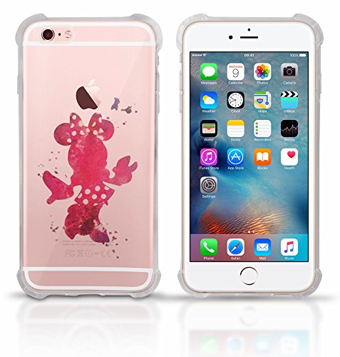 Clear iPhone 8 Plus clear case Protective Scratchproof Cover Antislip, Slim, Soft And Durable Plastic TPU Shell-Transparent Bumper Shock Case Mickey Mouse Colorful Paint Splatte (Minnie)
