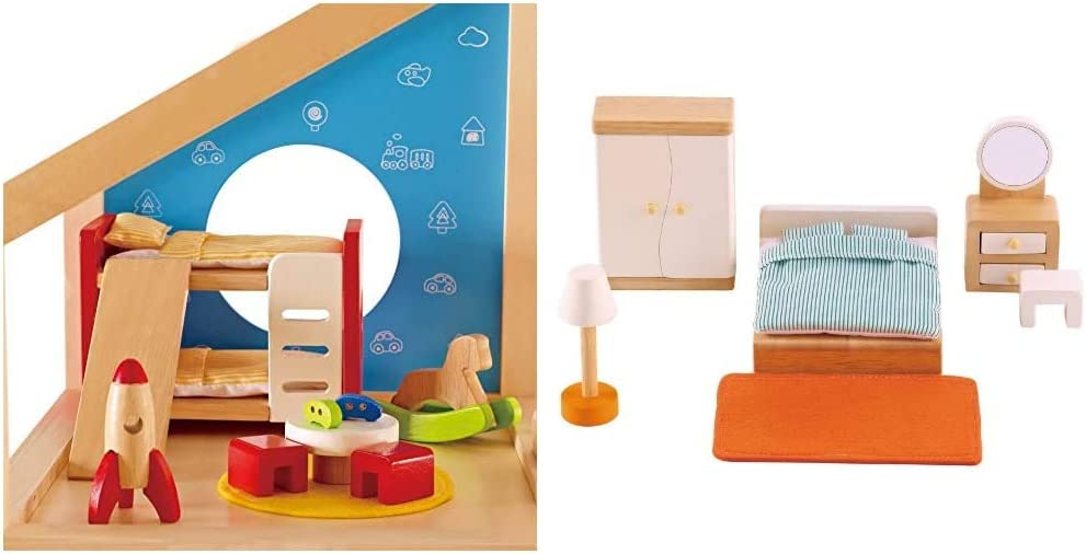 Hape Wooden Doll House Furniture Children's Room with Accessories & Wooden Doll House Furniture Master Bedroom Set