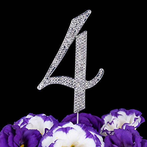 LOVENJOY with Gift Box Number 4 4th Sparkly Crystal Rhinestone Happy Wedding Anniversary Birthday Cake Toppers Silver (3-inch) (Number Cake Topper 4)