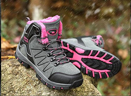 Kuki botas para mujer, zapatos de mujer, botas de nieve, cálido, Outdoor, algodón zapatos macho, impermeable, antideslizante, senderismo, invierno, high-top, Plus cachemir, zapatos de senderismo 8012 ash powder