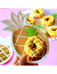 (30 Pcs) JeVenis Glitter Green Hawaiian Party Pineapple Cupcake Toppers Picks Donut Toppers for Luau Bridal Shower Tropical Summer Party Cake Decoration