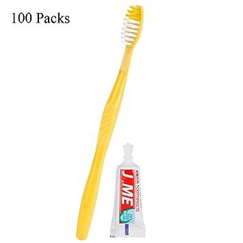 Cepillos de dientes desechables de calidad premium con pasta de dientes, envueltos individualmente, para