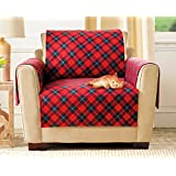 Chair Slipcover Furniture Protector Soft Plaid Fleece Fabric T-Cushion Wing Chair Cover Shield Protects Fabric from Pet Stains Every Day Wear