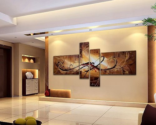 FLY SPRAY 4-Piece 100% Hand-Painted Oil Paintings Panels Stretched Framed Ready Hang Lines Modern Abstract Canvas Living Room Bedroom Office Wall Art Home Decoration