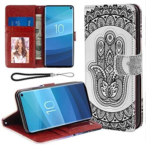 mophinda Samsung Galaxy S10+ Wallet Case (6.4inch) Ethnic,Ancient Eastern Oriental Henna Hand and Mehndi Arabesque Tattoo Work of Art Print,Black White Full Body