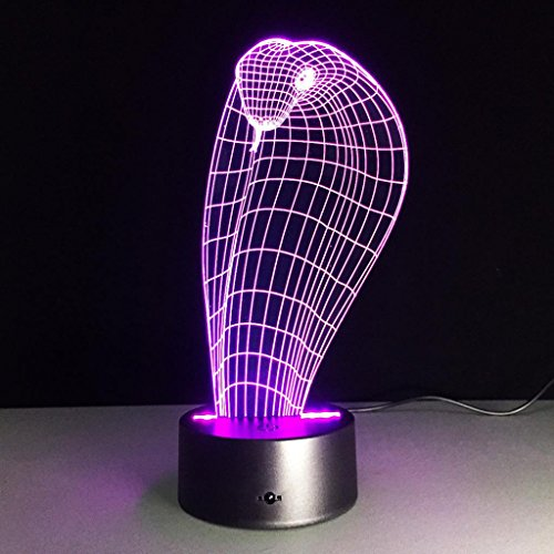 (ZQQ 3D LED Colorful Night Light Cobra Amazing Acrylic 7 Color Change Illusion Gift Table Lamp , Touch and Remote)