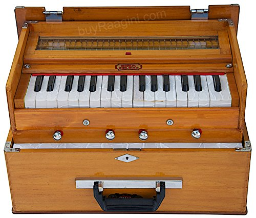 BINA 23B Deluxe, Harmonium, 2 1/2 Octaves, 32 Keys, Small, Portable, Compact, Special Reeds, Safri, Natural Color, Bag, Book, Kirtan, Musical Instrument Indian (PDI-DAA) by Bina