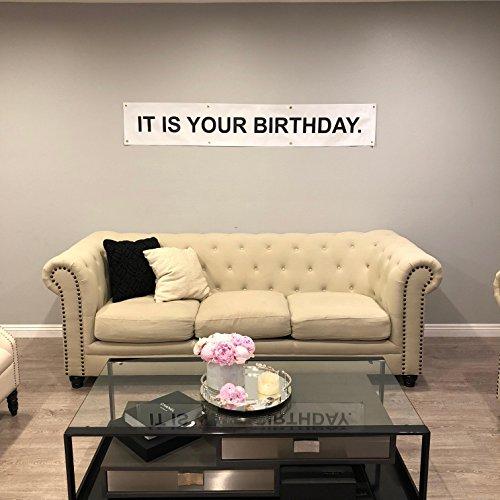 "Banner- BONUS 5$ Starbucks Gift Card - Funny Vinyl Birthday Banner- The Office TV Series Theme- 12"" x 72"" Surprise Birthday Party Banner- Metallic Hanging Rings ()"
