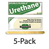 ski boots replacement parts - Hardman/Kalex #04022 - Double Bubble Urethane Adhesive Green/Beige-Label D50 High Shear Strength - 5-Pack