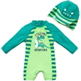 upandfast Baby Boy Swimsuit Sunsuits UPF 50+ Sun Protection Infant One Piece Swimwear Toddler Bathing Suit with Sun Hat