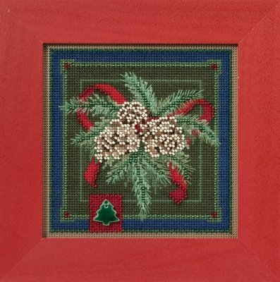 Festive Pine Beaded Counted Cross Stitch Kit Mill Hill Buttons & Beads 2016 Winter Series MH141634 (Buttons Pine)