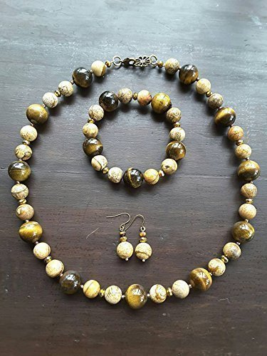 UNIQUE : ELEGANT CLASSIC TIGER EYE & PICTURE JASPER NECKLACE SET (NECKLACE + BRACELET STRETCH + EARRING) included deluxe gift box (Tigers Eye Earrings Jasper)
