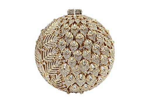 Borse Frizione Tondeggiante Da Donna Con Frange Yilongsheng Con Diamanti A Foglia Lunga (oro)