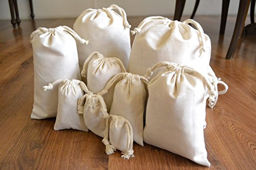 Double Drawstring - Muslin Bags - Double Drawstring, 100% Organic Cotton, Premium Quality Eco Friendly Re-useable Natural Bags. Pack of 100 (6 x 10 Inches)
