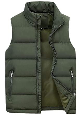 WSPLYSPJY Mens Casual Plus Size Winter Solid Mao Collar Cotton Padded Vest