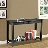 Topeakmart 2-Tier Wood Hall Console Table with Drawer and Bottom Shelf 55Lb Capacity Black