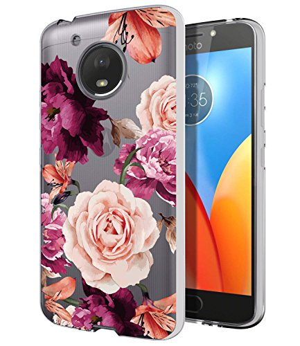 Moto E4 Case, Moto E4 with Flowers,BAISRKE Slim Shockproof Clear Floral Pattern Soft Flexible TPU Back Cove for Motorola Moto E4 / Moto E (4th Generation) [Purple Pink]