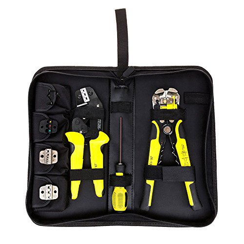 Meterk 4 In 1 multi tool wire Crimper Kit Engineering Ratcheting Terminal Crimping Pliers wire Crimpe+ Wire Stripper+ Screwdiver Yellow ()