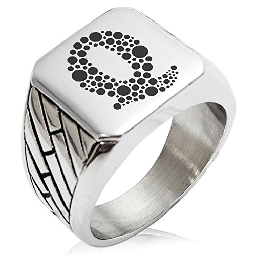 (Two-Tone Stainless Steel Letter Q Alphabet Initial Dotted Monogram Engraved Geometric Pattern Biker Style Polished Ring, Size 8)