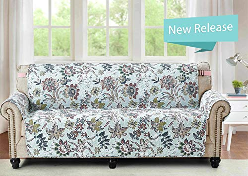 Large Sofa Protector 78 Inch Soft Pet Proof Furniture Cover Vintage Plaid Rose Print Reversible Quilted Scroll Layers, Enhanced Strap, Machine Wash Arm Chair Slip Cover Not Leather, Green (Furniture Green Vintage)