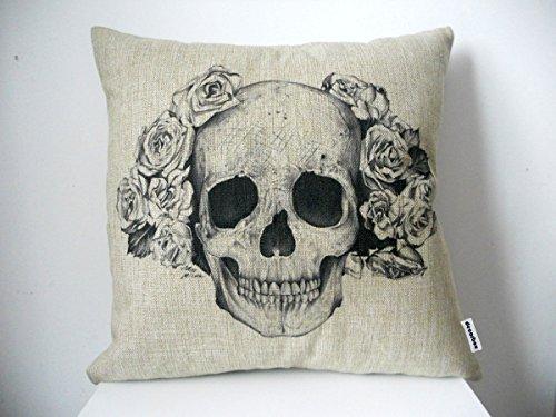Decorbox Cotton Linen Square Decorative Fashion Throw Pillow Case Cushion Cover Black White Rose Skull 18