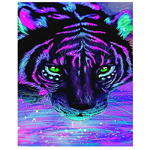 (Tiger Diamond Painting 5D DIY Diamond Drawing Kits for Adults Full Drill Kit 11.8 x 15.7 inch)