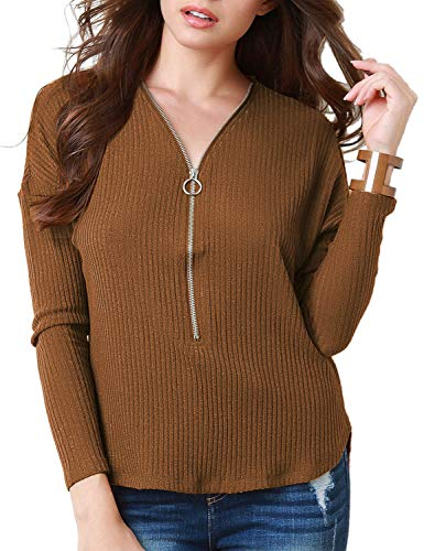 Utyful Women Casual Zipper V Neck Ribbed Knit Camel Long Sleeves Pullover Tops Shirts Size S 4 6 ()