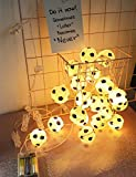 SEEYANG 20 LEDs Soccer String Lights Fairy String Lights Battery Operated World Cup Decor for Home Kids Bedroom Party Indoor Outdoor Bar (Warm White)