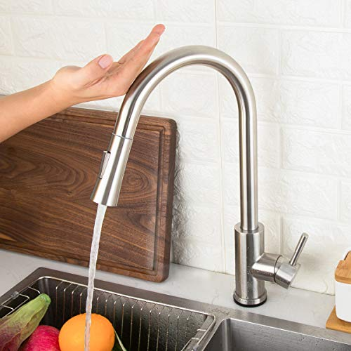 Single Handle Smart Kitchen Sink Faucets with Pull Out Sprayer Stainless Steel Touch Activated Faucet GAPPO Touch Kitchen Faucet with Pull Down Sprayer Brushed Gold