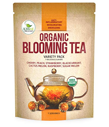 Blooming Tea - 7 Organic All Natural Flavors of Flowering Tea - 100% Organic Calendula Flowers and Green Tea Leaves in Hand Sewn Blooming Tea Balls from Kiss Me Organics - 7 Blooms - One of Each -