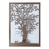 Rustic Tree Wedding Invitation, Laser Cut Tree Invitations, Printable Wedding Invitation Cards- Pack of 50
