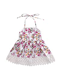 Baby Girls' Clothes Sleeveless Halter Backless Floral Lace One Piece Dress