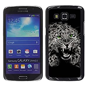Stuss Case / Funda Carcasa protectora - Fangs Black White Leopard Spots Fur Roar - Samsung Galaxy Grand 2 SM-G7102 SM-G7105