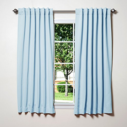 Best Home Fashion Thermal Insulated Blackout Curtains - Back Tab/ Rod Pocket - Sky Blue - 52'W x 54'L - (Set of 2 Panels)