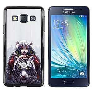 EJOY---Cubierta de la caja de protección la piel dura para el ** Samsung Galaxy A3 ** --Tigre Blanco & Girl