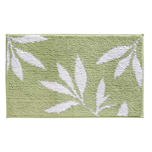InterDesign Leaves Microfiber Polyester Bath Mat, Non-Slip Shower Accent Rug for Master, Guest, and Kids