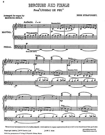 Igor Stravinsky: Berceuse and Finale From The Firebird (Organ). Partituras para Órgano