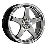 17x7 Enkei EV5 (Hyper Black w/ Machined Lip) Wheels/Rims 5x100/114.3 (446-770-0238HB)