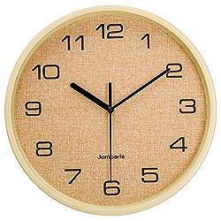 jomparis 12 Silent Wall Clock Wood Non Ticking Digital Quiet Sweep Home Decor Clocks(Yellow)