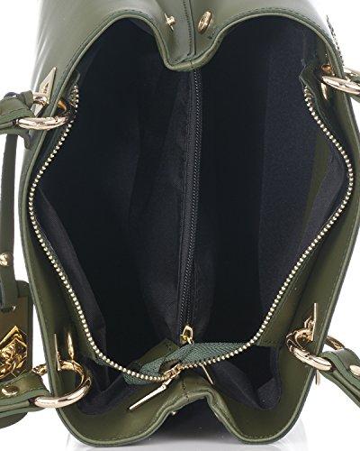 Laura Moretti - Bolso de piel auténtica con detalles de metal Verde