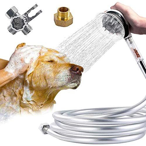 Handheld Grooming - Reliancer Dog Shower Sprayer Kit 8' Hose Handheld Pet Bathing Brushes Tool w/ Brush and Splash Shield Pets Scrubber Grooming Cleaning Set Powerful Shower Spray for Faucet Sink Bathtub w/Diverter