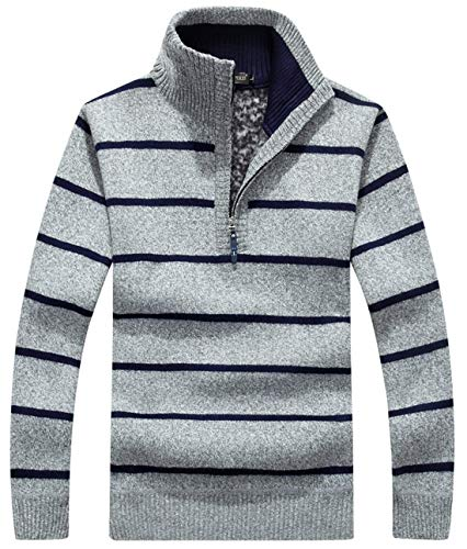 chouyatou Men's Turtle Neck Slim Fleece Lined Striped Cable Knitted Henley Pullover Sweater (Large, Light Grey) ()