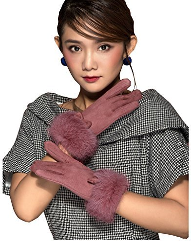 HYSENM Women Suede Leather Winter Lining Touch Screen Rabbit Fur Driving Gloves, Pink