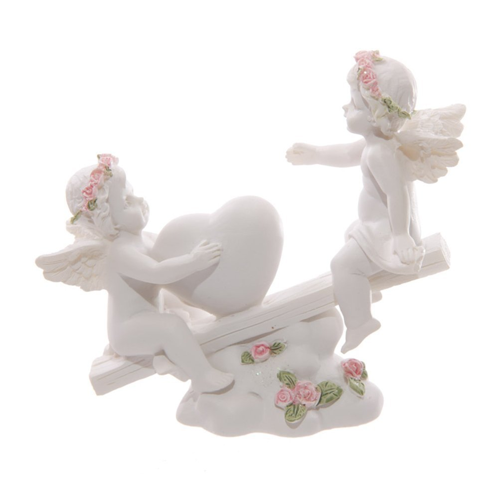 Puckator CHE90Cherub on Swing with Pink Roses Figurine - White Resin 10.5 x 4 x 9.5 cm