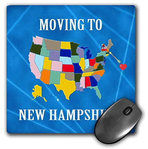 3dRose Beverly Turner Moving to - United States Map, Moving to New Hampshire, Heart and Car, Luggage - Mousepad (mp_233576_1)