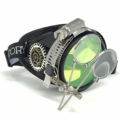 UMBRELLALABORATORY Steampunk Monocle Goggles Victorian with Double Clip on Loupe BBB 1X
