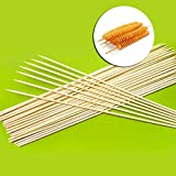 50 Pcs 24'' x6mm Skewers for Grilling Wooden - Skewers for Fruit Kabobs - Extra Long Bamboo Skewers - Bamboo Skewers for Potato Tornado Hot Dog - Sticker for Shish Skewers - Wooden Barbecue Skewers Nat