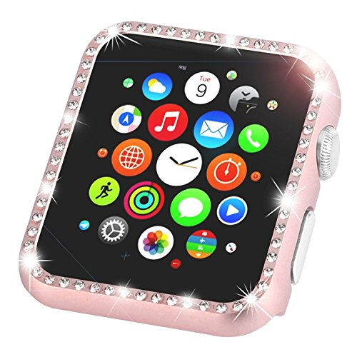 Leotop Compatible with Apple Watch Case 42mm, Metal Bumper Protective Cover Frame Accessories Women Girl Bling Shiny Crystal Rhinestone Diamond Compatible iWatch Series 3/2/1 (Diamond Rose Gold, 42mm)